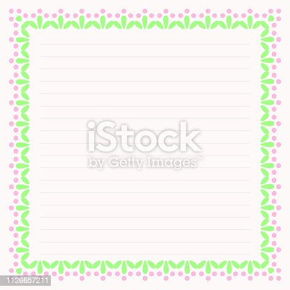 Page design for writing, background of beautiful flowers with pink buds, with floral ornament of pastel colors and blank lines, template for writing and planning