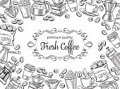 Vector page design template coffee with sketch cups, hot drinks, French press, brewer for menu cafe. Retro outline style illustration.