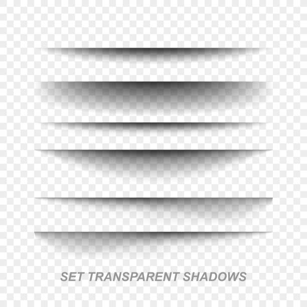 page divider. transparent realistic paper shadow effect set. web banner - тень stock illustrations