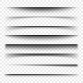Page divider with transparent shadows isolated. Pages separation vector set