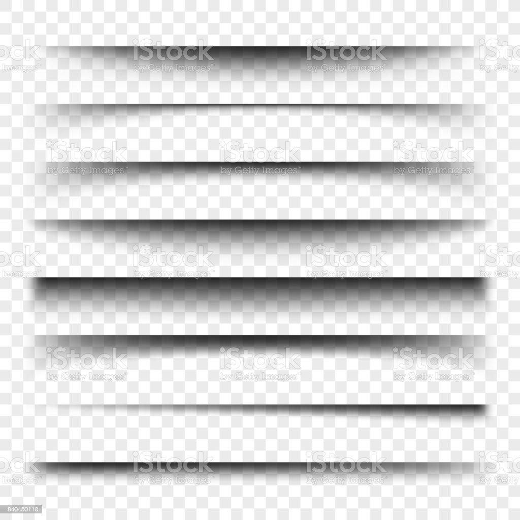 Diviseur de page avec les ombres transparentes isolées. Set de vector de séparation pages - Illustration vectorielle