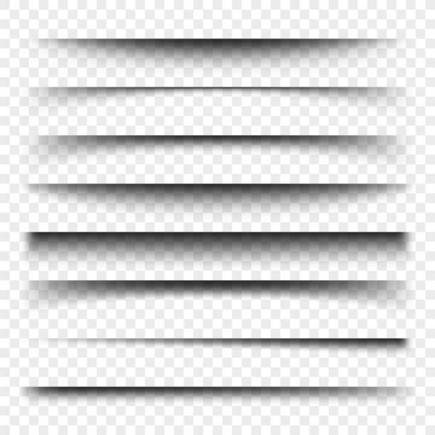 illustrations, cliparts, dessins animés et icônes de diviseur de page avec les ombres transparentes isolées. set de vector de séparation pages - silhouette