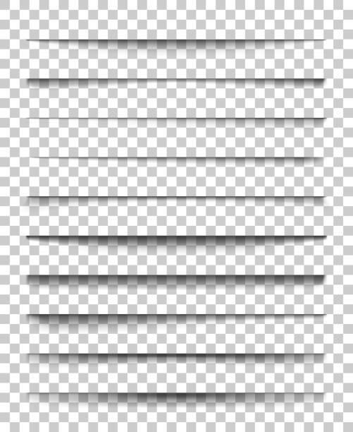 page divider with transparent shadows. set of pages separation vector isolated. transparent realistic shadow for web banner and advertising. vector illustration for your design, template and site - тень stock illustrations