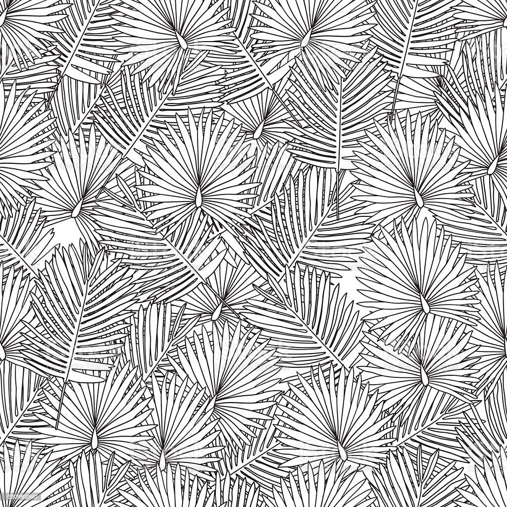 Adultos página para colorear libro. Sin costuras fondo de hojas de palma, negro - ilustración de arte vectorial