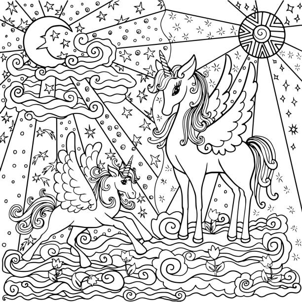 page for anti-tank coloring pages withunicorns page for anti-stress coloring with beautiful unicorns, art therapy for children and adults. a fascinating work. Mother and baby unicorn walk on clouds. coloring book pages templates stock illustrations