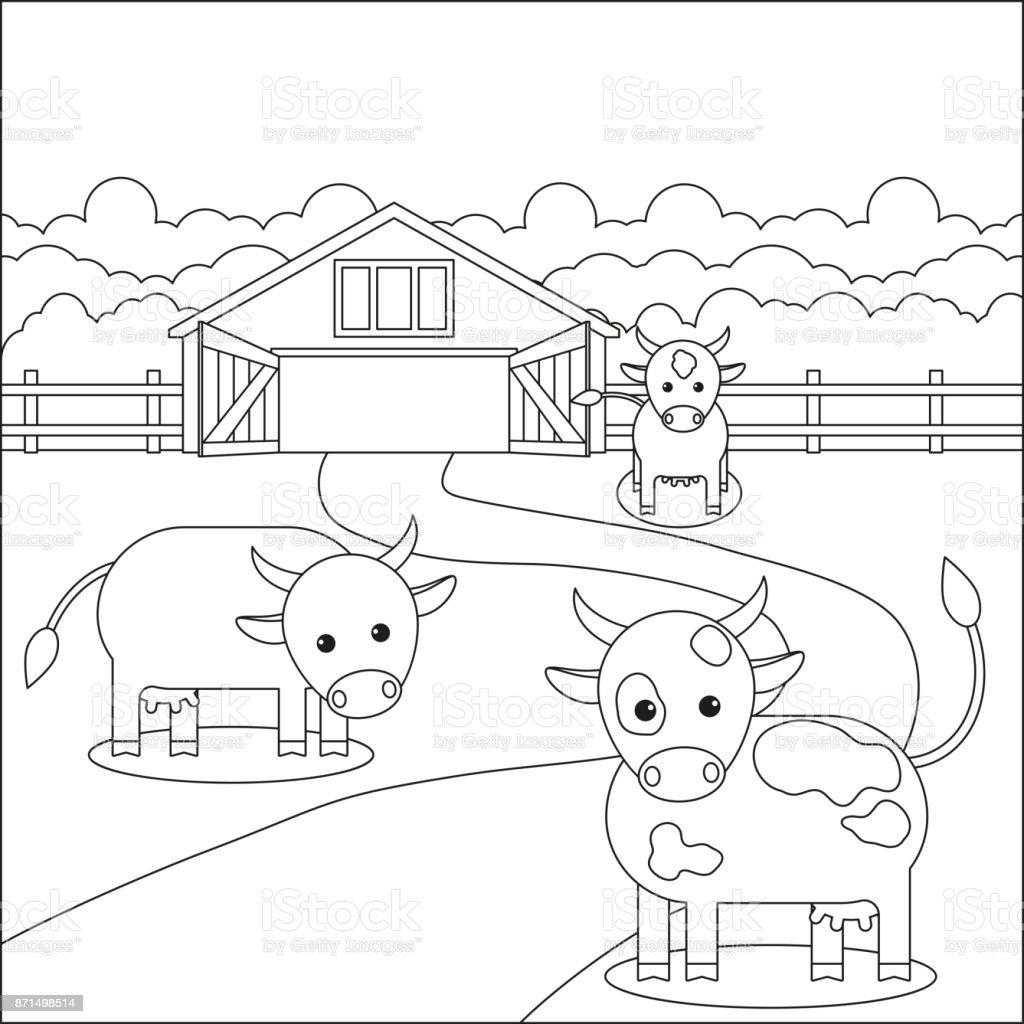 Ilustración De Página De Libro Para Colorear Vacas Cerca De La