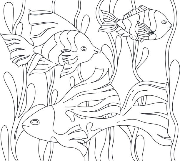 page for colouring book with fish and seaweed - coloring book pages templates stock illustrations