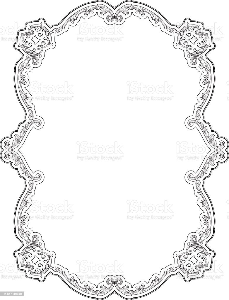Page in baroque art style vector art illustration