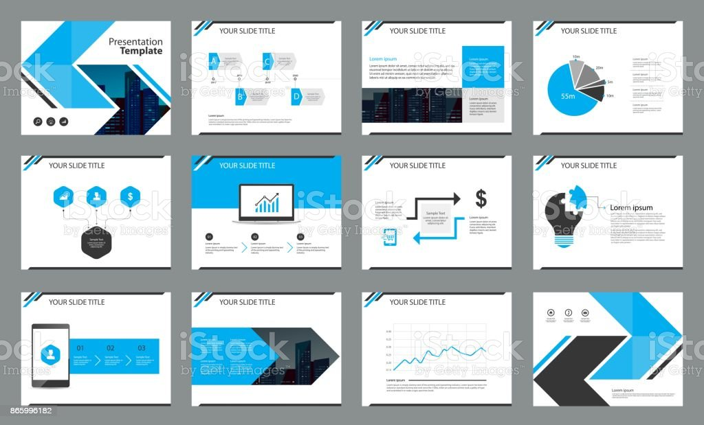 Page Layout Design And Infographics Elements For Presentation - Unique company profile presentation template ideas