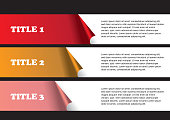 3 numbered strips of peel off stickers with white space for text copy. Abstract vector background isolated on black background as template for page layout design.