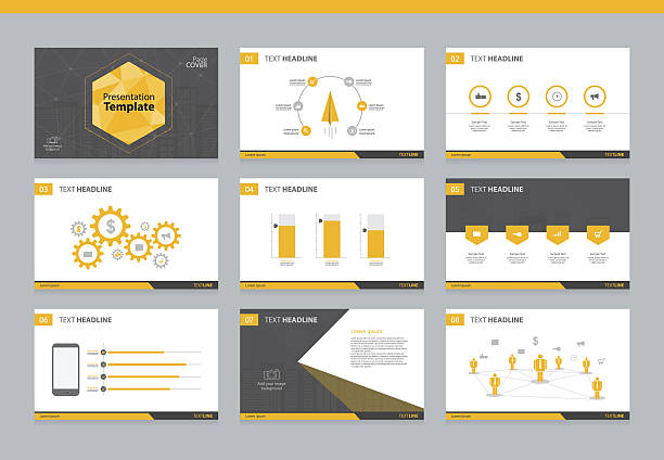 page layout design template for business presentation - infographic templates stock illustrations, clip art, cartoons, & icons