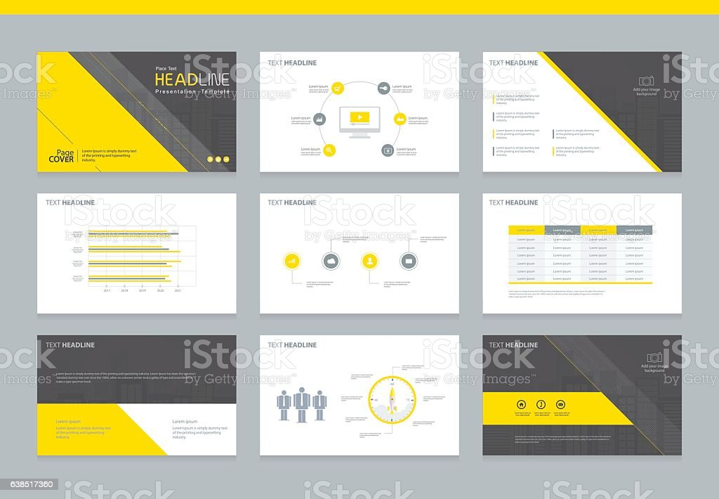 page layout design template for presentation stock