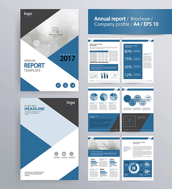 page layout for company profile, annual report, and  brochure, layout template. - annual reports templates stock illustrations