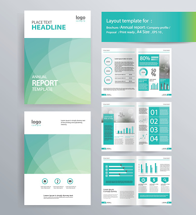 Page Layout For Company Profile Annual Report And Brochure Layout Template - イラストレーションのベクターアート素材や画像を多数ご用意