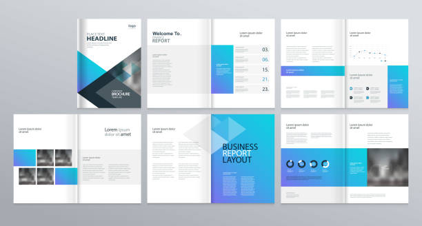 page layout for company profile, annual report, and brochure, layout template - katalog stock illustrations