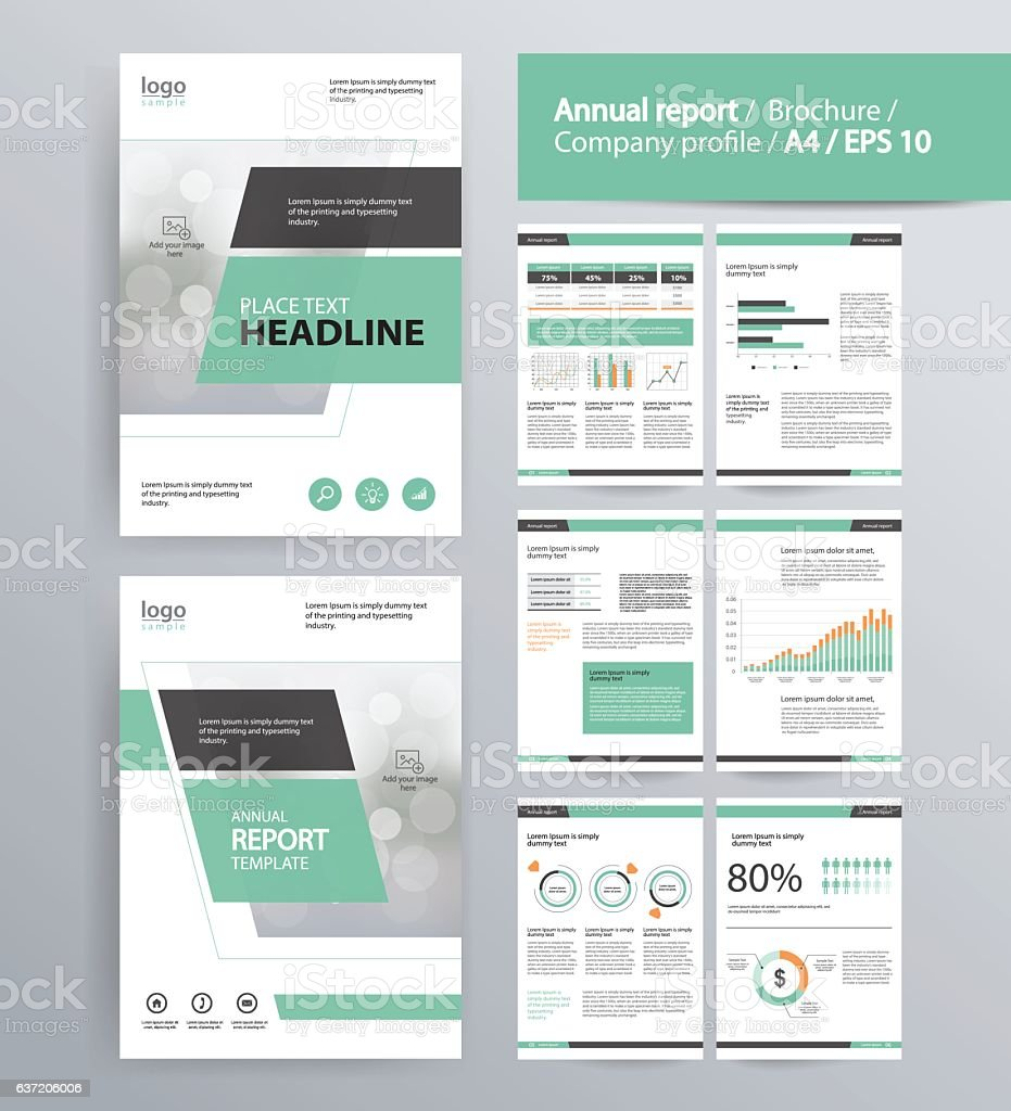 page layout for company profile, annual report, vector art illustration