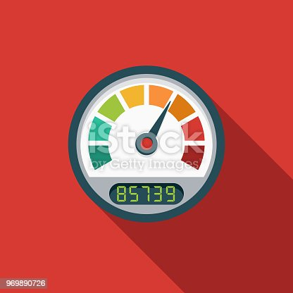 A flat design styled search engine optimization (SEO) icon with a long side shadow. Color swatches are global so it's easy to edit and change the colors.