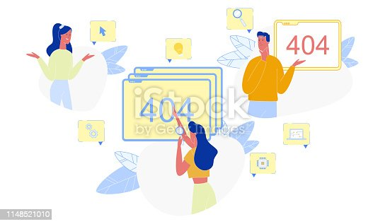 istock Page not Found 404 Error and Puzzled People Set 1148521010
