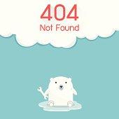 Page not found Error 404. Polar Bear Concept