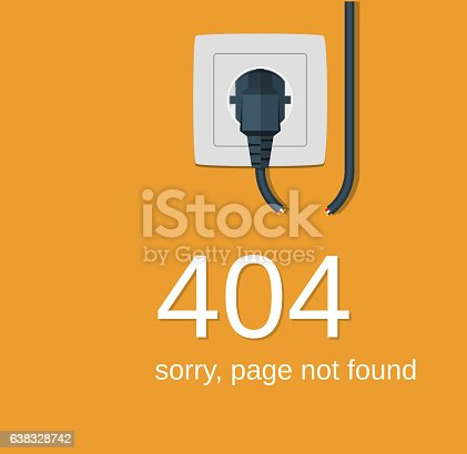 Electricity plug and socket disabled. 404 Error, page not found. Connection error. Vector illustration in flat design.