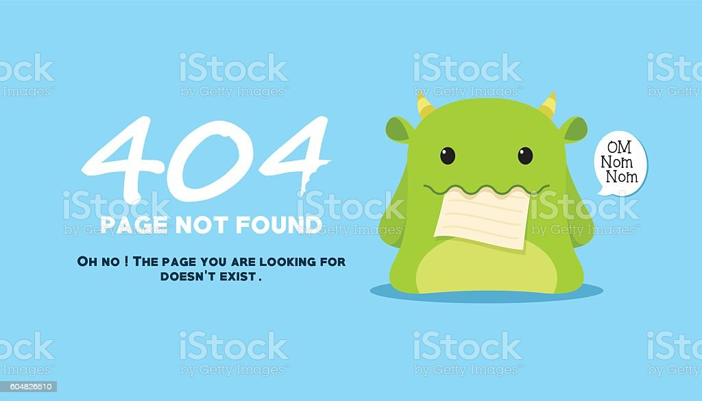 page not found with monster eat the illustration vector art illustration