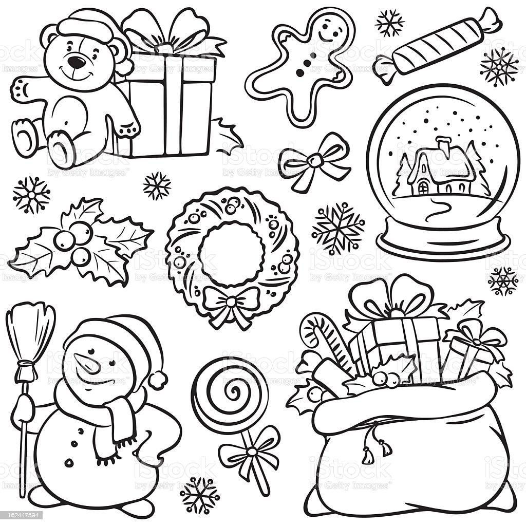 Page of  Christmas themed sketches royalty-free page of christmas themed sketches stock vector art & more images of bag