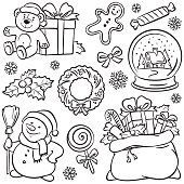Christmas set, pencil drawing illustration