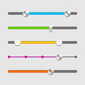 A page of different colored sliders shown of UI