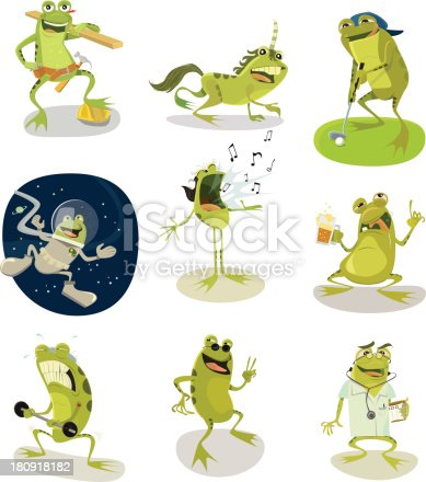 A whole page of frog characters all separated onto their own layers for easy editing. construction worker frog, unicorn frog, golfing frog, space frog, singing frog, drunk frog, weightlifting frog, cool frog and doctor frog.