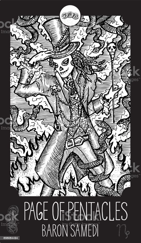 Page Of Pentacles Baron Samedi Stock Illustration - Download