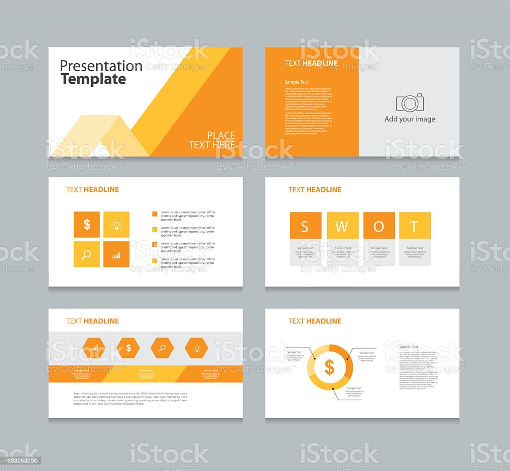 page presentation layout design template with info graphic element vector art illustration