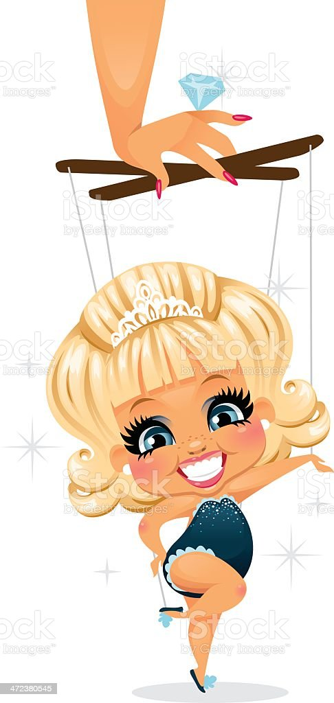 Pageant Girl A Pageant girl being controlled by her mom's hand like a puppet. The hand, sticks, and strings are on a separate layer and easily removed in Ai.  Artificial stock vector