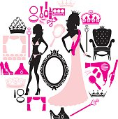 A set of pageant related icons. See below for more fashion, beauty and sexy girl images