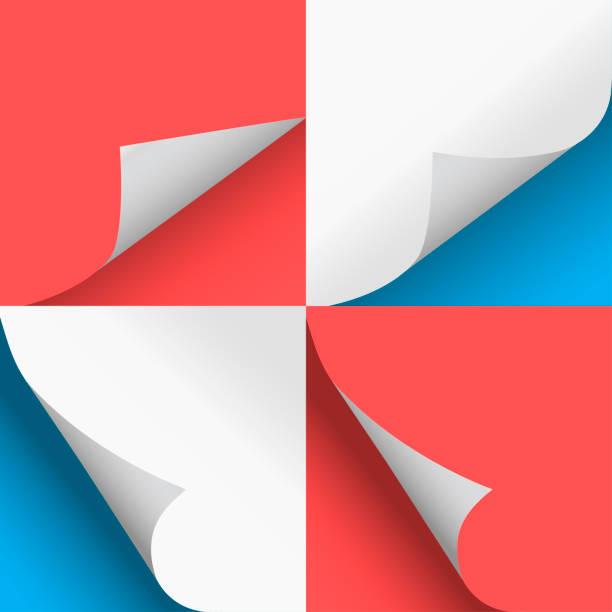 seiten curl set stilvolles illustration blau und rot vektordesign - buchseite stock-grafiken, -clipart, -cartoons und -symbole