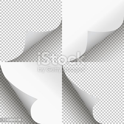 istock Pages curl set stylish illustration vector design 1140855128