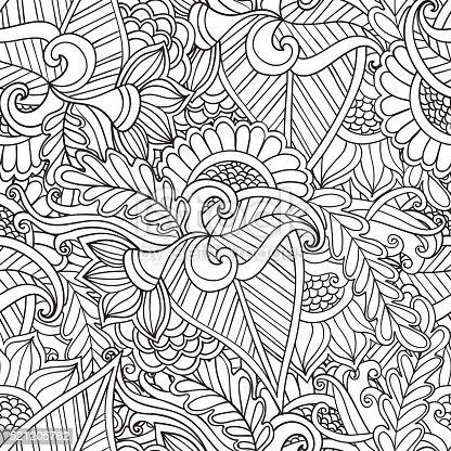 istock Páginas de libro para colorear adultos. Dibujado a mano ...