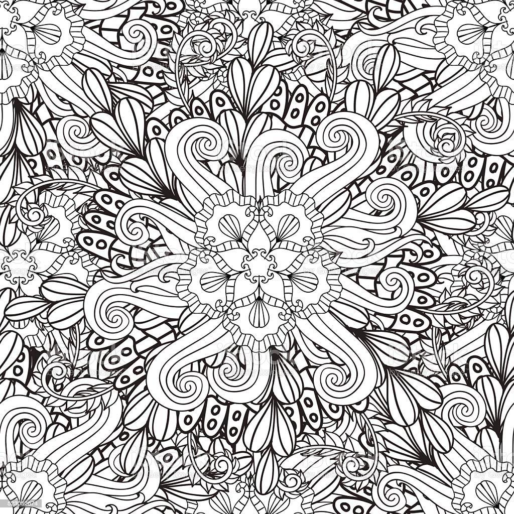 Páginas De Libro Para Colorear Adultos Dibujado A Mano Artística ...