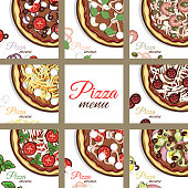 Set of cards with hand drawn pizza. Pizza with different ingredients. Pages of menu. Vector illustration.