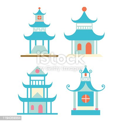 Vector Pagodas elements isolated set