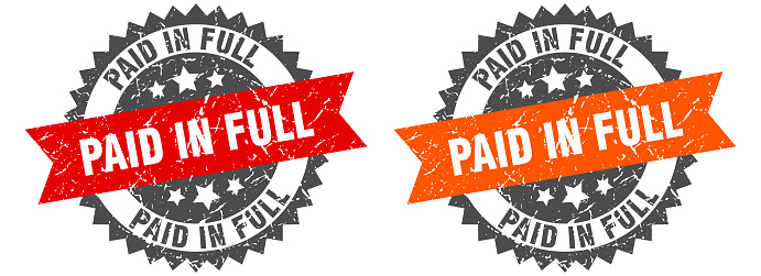paid in full grunge stamp set. paid in full band sign