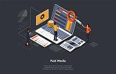 istock Paid Media Marketing Concept, Pay Per Click, PPC Campaign, Marketing platform, Online Documentation Inspection, Identity Development. Paid Media, Digital Auditing. Isometric Vector Illustration 1209004601