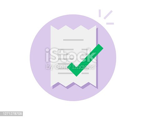 Paid success payment approved notice icon vector flat, bill tax pay verification completed notification, invoice receipt done with check mark valid symbol, confirmed money financial transaction image