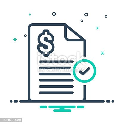 Icon for paid,  invoice, stamp, bills