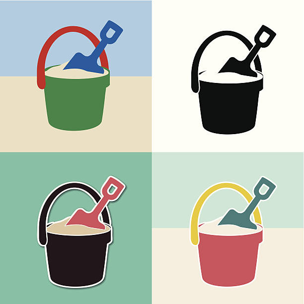 pail and shovel toys set vector art illustration