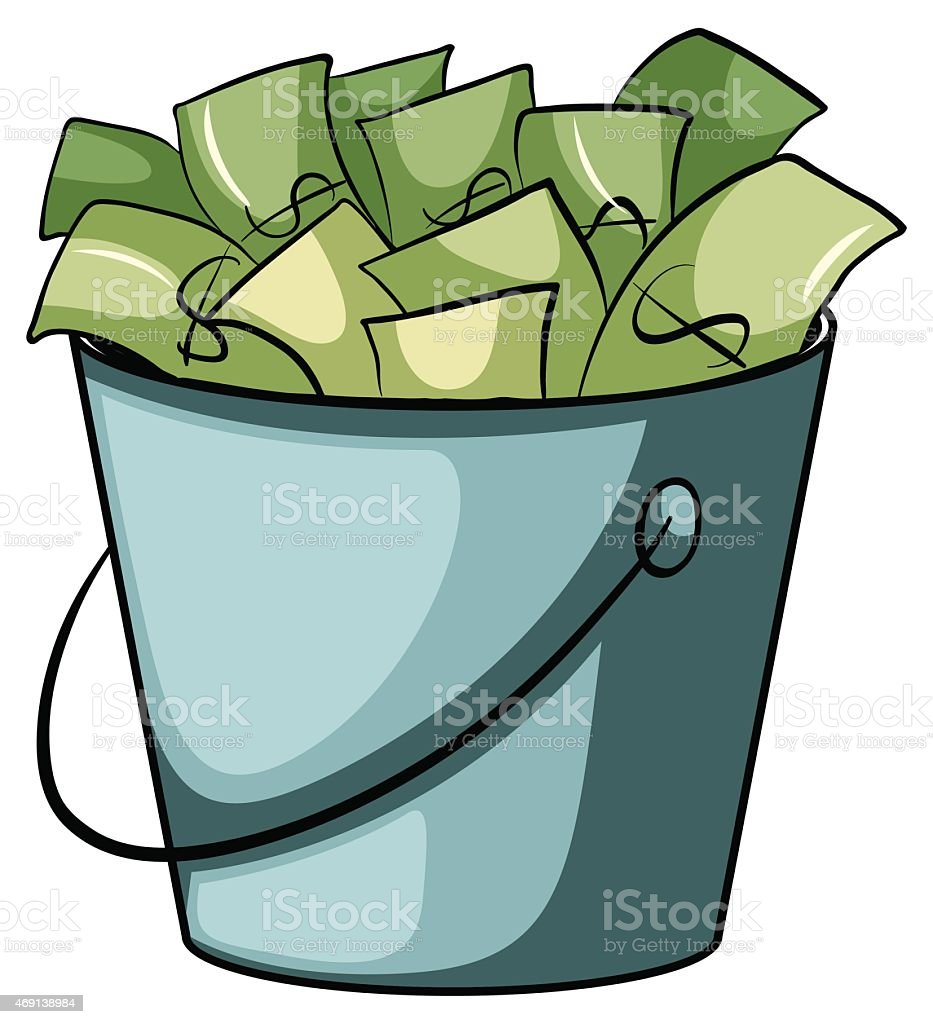 Pail of money vector art illustration