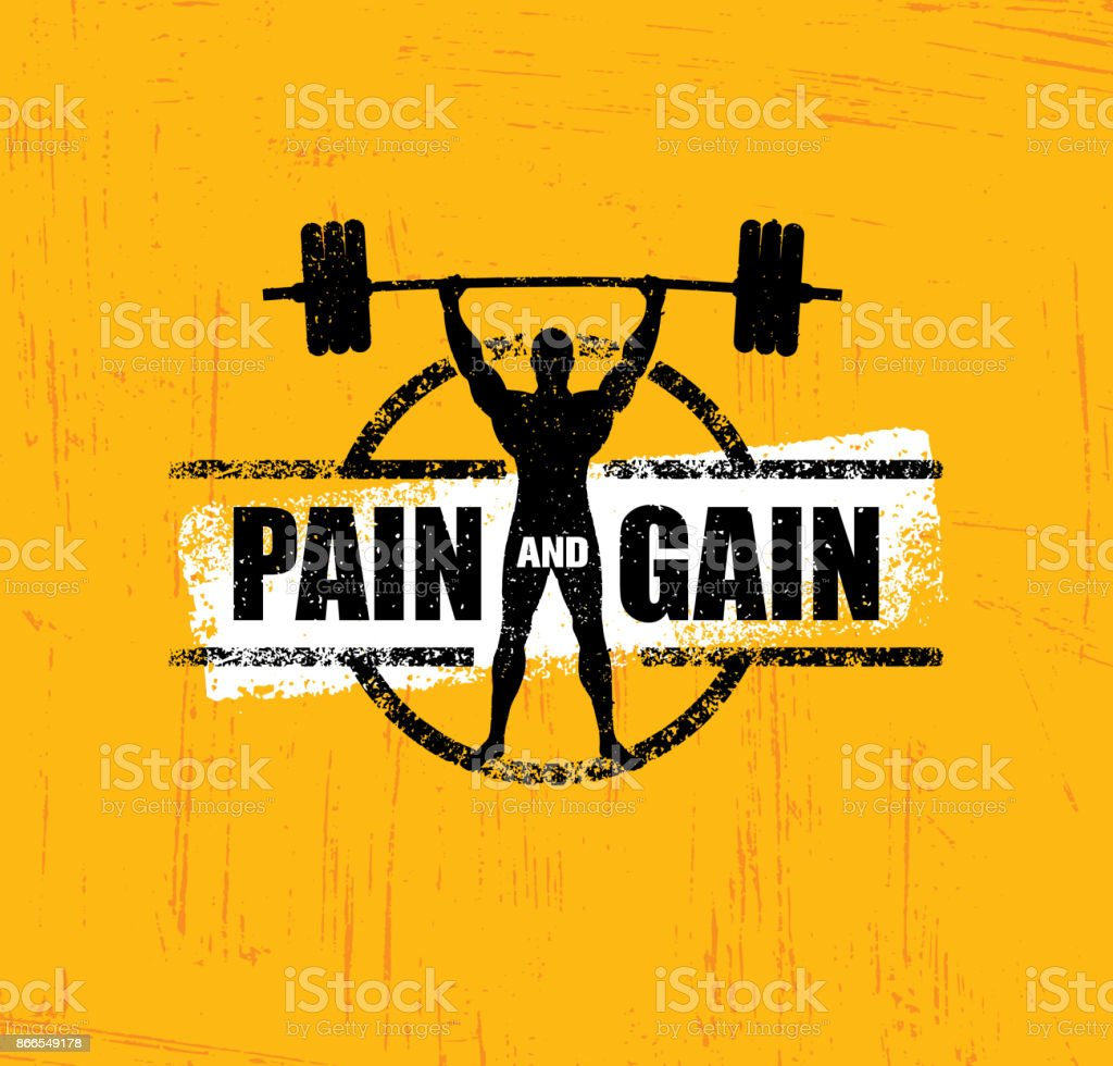 Pain And Gain. Workout and Fitness Gym Design Element Concept. Creative Custom Sport Vector Sign vector art illustration