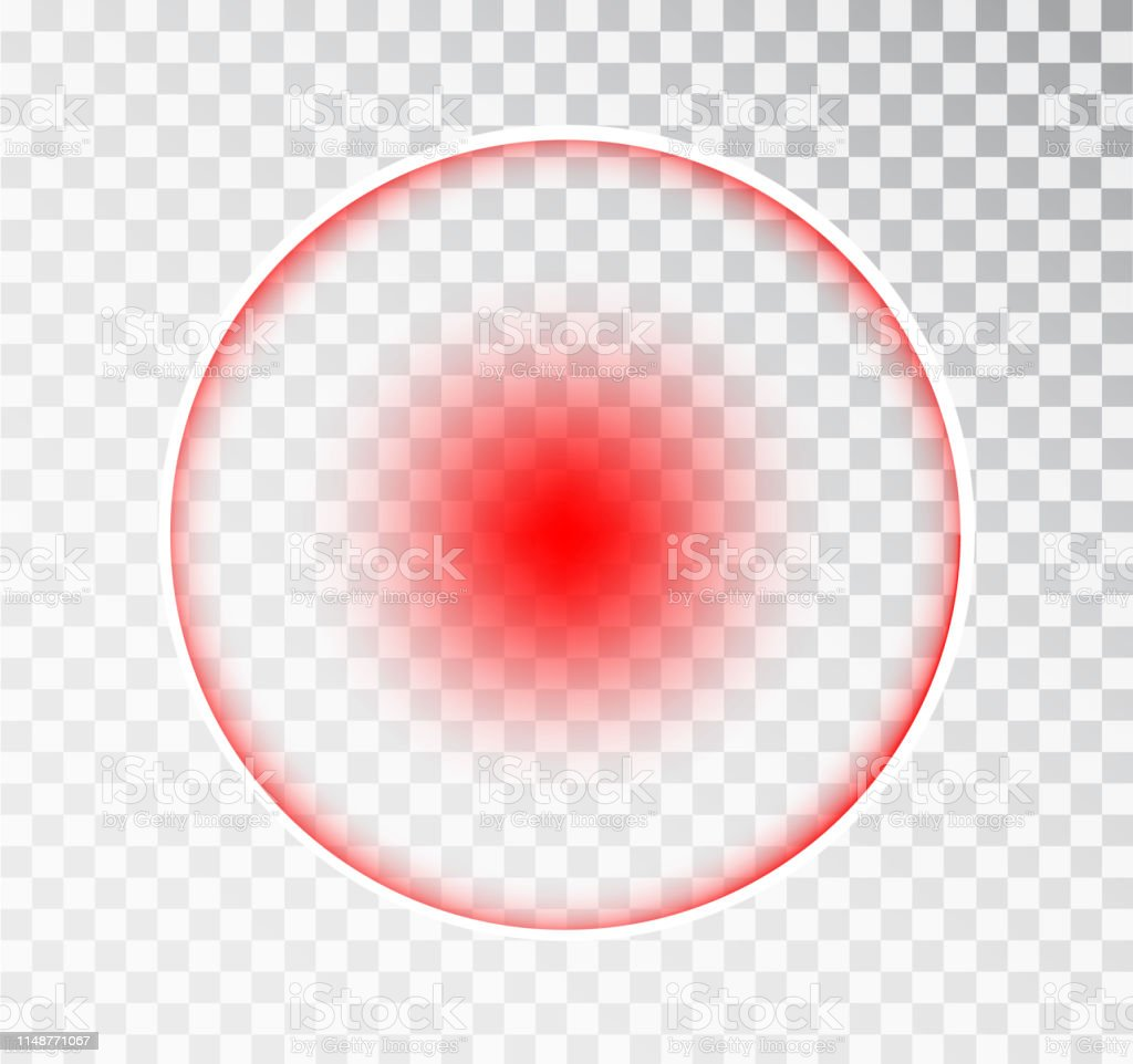 Pain circle red icon for medical painkiller drug medicine. Vector red...