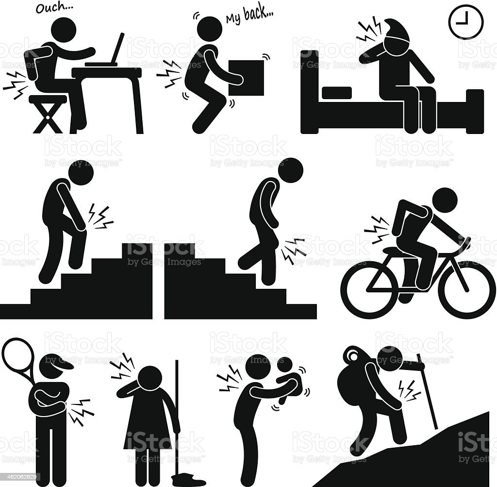 Pain in Human Body Parts on Various Poses and Positions vector art illustration