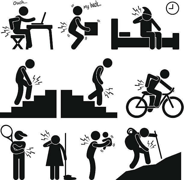 Pain in Human Body Parts on Various Poses and Positions A set of pictograms representing human having pain in different part of bodies when they are in different position and different workout. backache stock illustrations