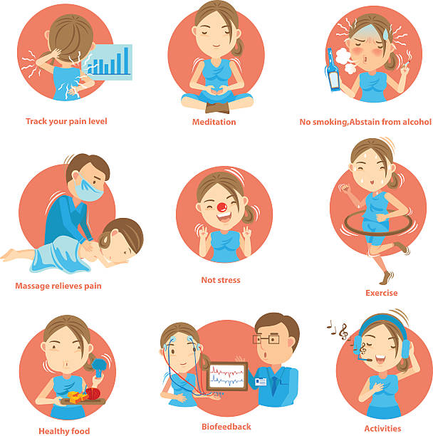Pain Management Tips for Living With Chronic Pain.Cartoon vector illustration biofeedback stock illustrations
